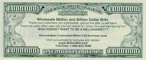 Custom Business Cards Million Dollar Bill And Billion Whole